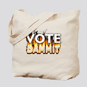 Vote Dammit - Orange w/ Clear Background Tote Bag